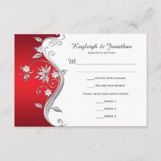 Ornate Red White Silver Flowers RSVP