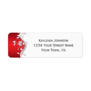 Ornate Red White Silver Flowers Swirls Label