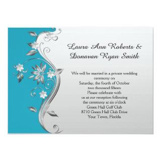 Ornate Teal Blue and Silver Floral Reception Only Invitations