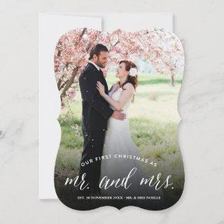 Our First Christmas As Mr And Mrs Photo Wedding Holiday Card