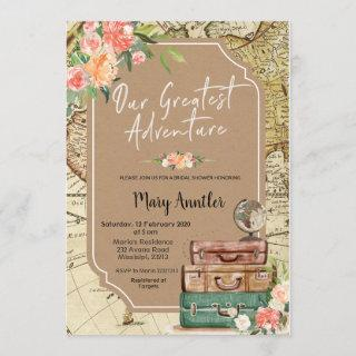 Our Greatest Adventure Bridal Shower Invitations