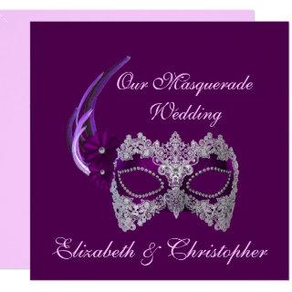"""Our Masquerade Wedding"" - Royal Purple Mask [b] Invitation"