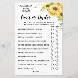 Ove or Under bridal shower spanish english game