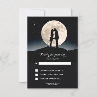 Over the Moon Starry Night Wedding RSVP Card