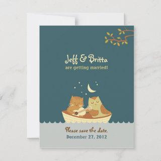 Owl & Pussycat Storybook Wedding (Sea Blue) Save The Date