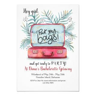 Pack Your Bags Bachelorette Party Invitations