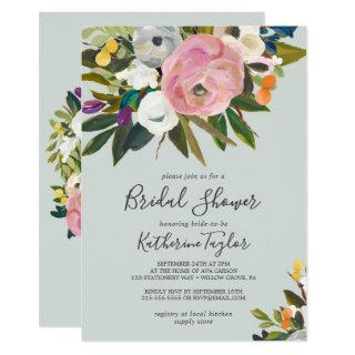 Painted Floral Bridal Shower Invitations
