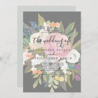Painted Floral | Faded Dark Gray The Wedding Of Invitations