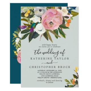 Painted Floral | Monogram The Wedding Of Invitations