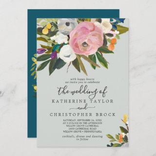 Painted Floral | Monogram The Wedding Of Invitation