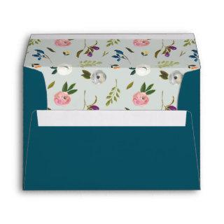 Painted Floral Pattern | Teal Wedding Invitation Envelope