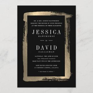 Painted frame faux foil wedding Invitations