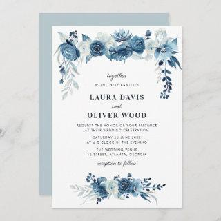 Painted moonlight blue floral wedding