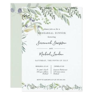 Painted Olive and leaves green  Rehearsal Dinner Invitations