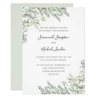 Painted Olive and leaves watercolor wedding Invitations