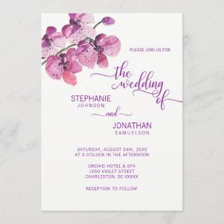 Painted Watercolor Purple Floral Orchids Wedding Invitation