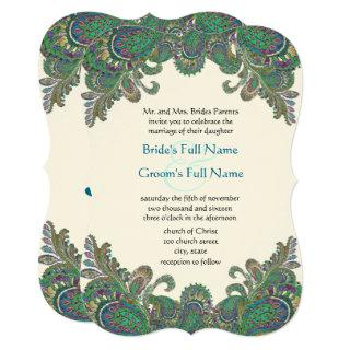 Paisley Peacock Colors Wedding Invitations
