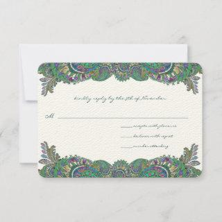 Paisley Peacock Colors Wedding Response Cards