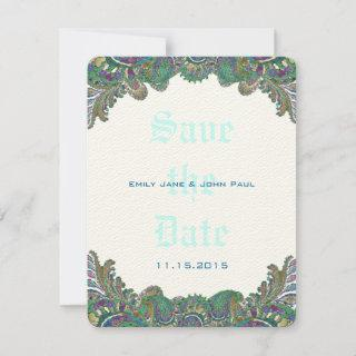 Paisley Peacock Colors Wedding Save the Date