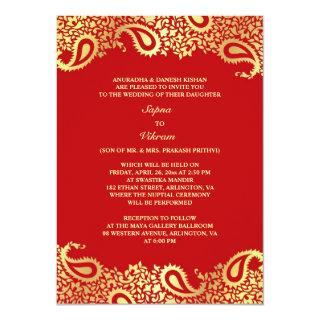 Paisleys Elegant Indian Wedding Flat Invitations