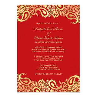 Paisleys Red Wedding Flat Invitations