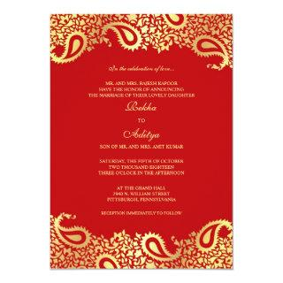 Paisleys Red Wedding Flat Invitation