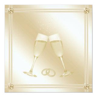 Pale Gold Champagne Glasses & Sapphires Wedding Invitations
