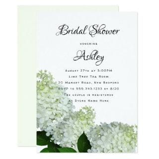 Pale Green Floral Bridal Shower Hydrangea Invites
