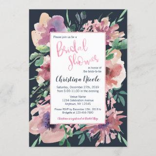 Pale Pink Foil Dark Navy Grey Floral Bridal Shower Invitation