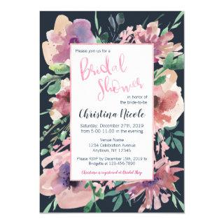 Pale Pink Foil Dark Navy Grey Floral Bridal Shower Invitations