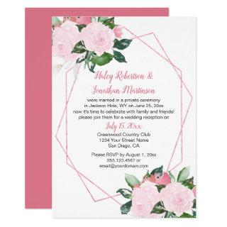Pale Pink Roses Geometric Reception Only | Invitations