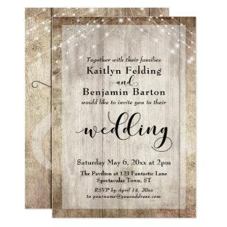 Pale Rustic Wood and White Lights Wedding Invitation