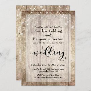 Pale Rustic Wood and White Lights Wedding Invitations