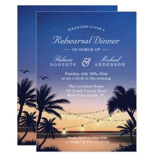 Palm Beach Sunset String Lights Rehearsal Dinner Invitations