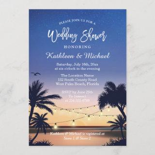 Palm Beach Sunset String Lights Wedding Shower Invitation