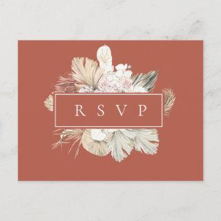 Palm Fronds Rust Frame Wedding RSVP Song Request Invitation Postcard