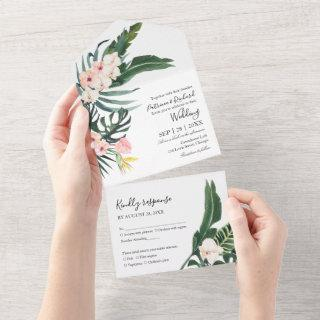 Palm Leaves Hibiscus Tropical Elegant Wedding All In One Invitation