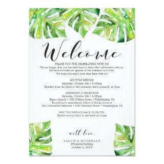Palm Leaves Wedding Itinerary Welcome Letter Invitations