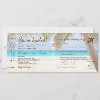 Palm Tree Beach Boarding Pass Wedding Invitations