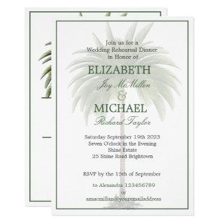 Palm Tree Elegant Wedding  Modern Chic Rehearsal Invitation