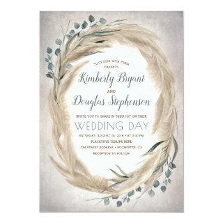 Pampas Grass and Greenery Wreath Vintage Wedding Invitation