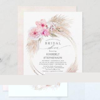 Pampas Grass and Pink Orchids Exotic Bridal Shower Invitations