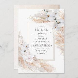 Pampas Grass and White Orchids Chic Bridal Shower Invitations