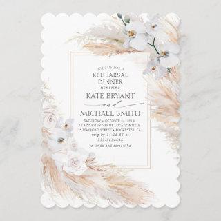 Pampas Grass and White Orchids Rehearsal Dinner Invitations
