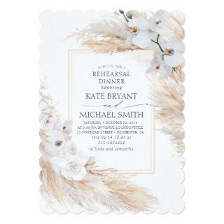 Pampas Grass and White Orchids Rehearsal Dinner Invitation
