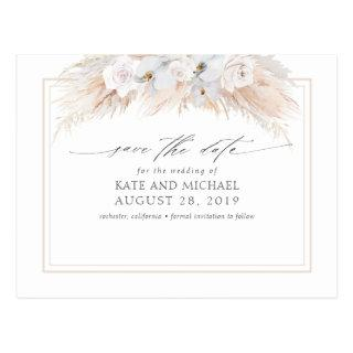 Pampas Grass and White Orchids Save the Date Postcard