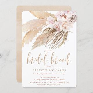 Pampas grass boho bohemian desert bridal brunch invitation