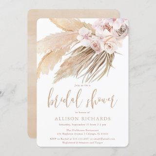 Pampas grass boho bohemian desert bridal shower invitation