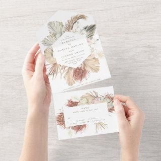 Pampas Grass Boho Floral Tropical Desert Wedding All In One Invitation