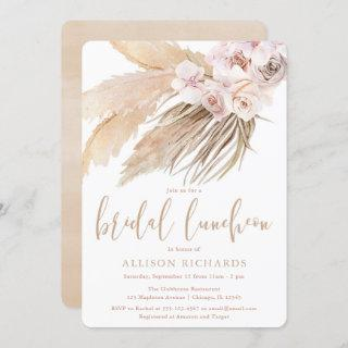 Pampas grass bridal luncheon boho bohemian desert invitation
